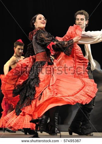 "CHENGDU - DEC 28: The Ballet Troupe of Spanish Rafael Aguilar(Ballet Teatro Espanol de Rafael Aguilar) perform the best Flamenco Dance Drama ""Carmen"" at JINCHEN theater DEC 28, 2008 in Chengdu, China. - stock photo"