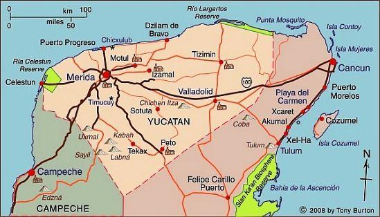 Map of Yucatán state, including Chichen Itza, Progreso, Uzmal and Yucatan Road Map on london road map, bahia road map, quintana roo road map, england road map, somerset road map, portland road map, scotland road map, india road map, brazil road map, playa del carmen road map, sao paulo road map, chihuahua road map, ireland road map, italy road map, merida map, colombia road map, mexico road map, south australia road map, yukon road map, norfolk road map,