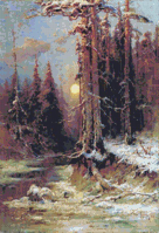 A Sunrise In Winter Cross Stitch Pattern by Avalon Cross Stitch on Etsy
