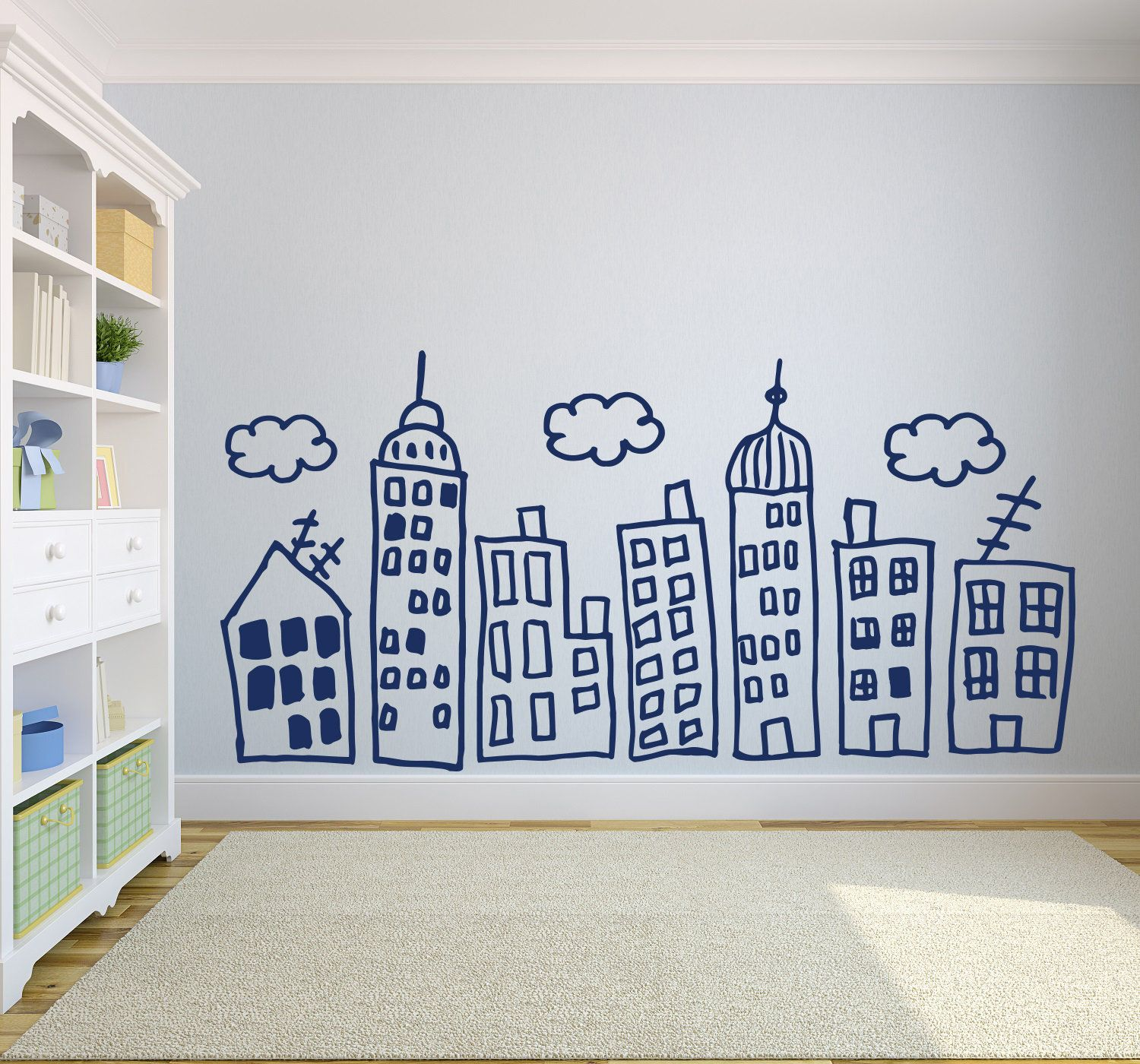 Large City Skyline Doodle Wall Decal Hand Drawn Vinyl Decal Etsy Doodle Wall Kids Wall Decor Wall Decor Stickers