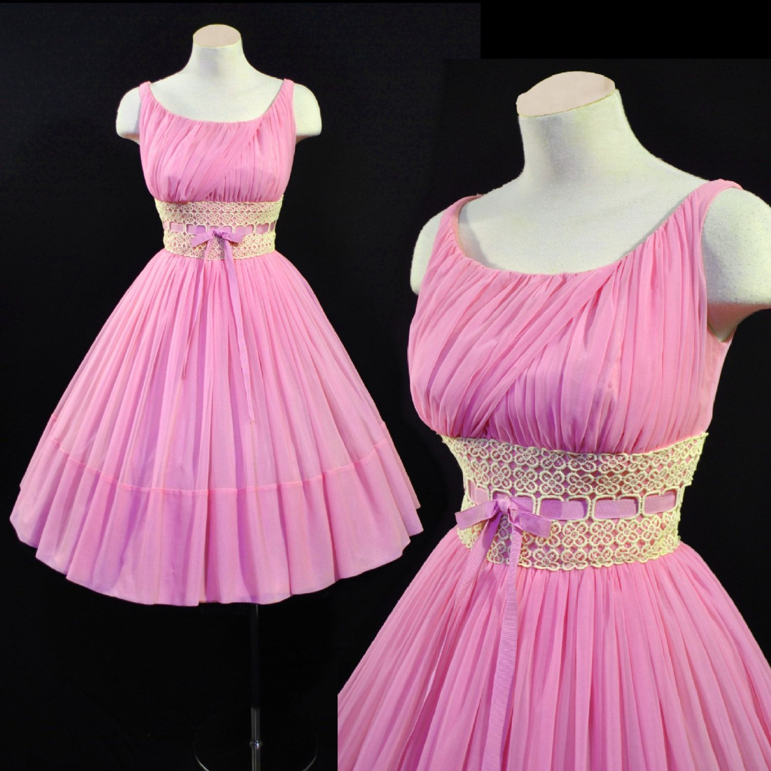 Vintage 1950s Lavender Pink CHIFFON LACE Full Skirt Cocktail Wedding ...
