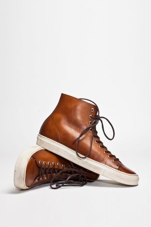 Brown Leather High Top Sneakers, by Buttero Tanino. Mens
