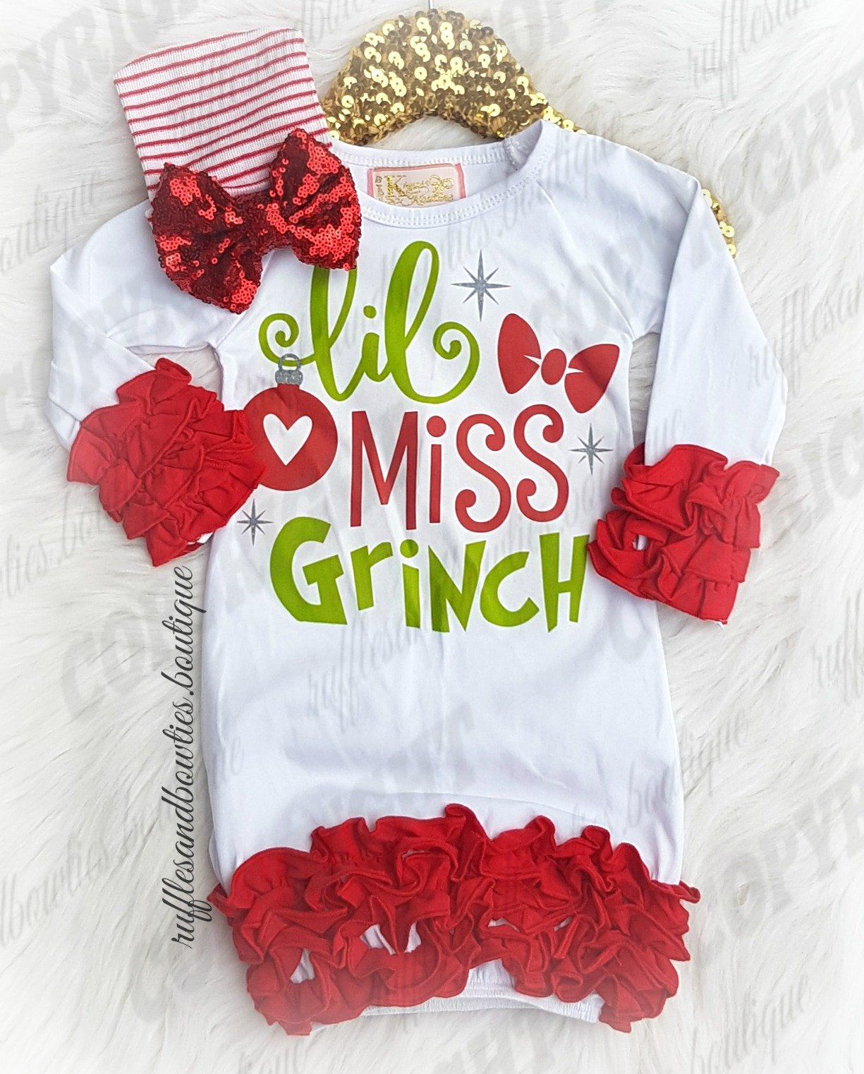 245b22fcf6c5 EXCLUSIVE    Little Miss Grinch White   Red Ruffle Sleep Sack - Lil ...