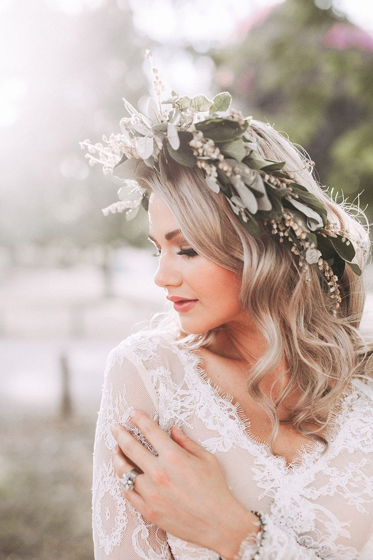 Modern Wedding Flower Crown In Natural Green And White With Long