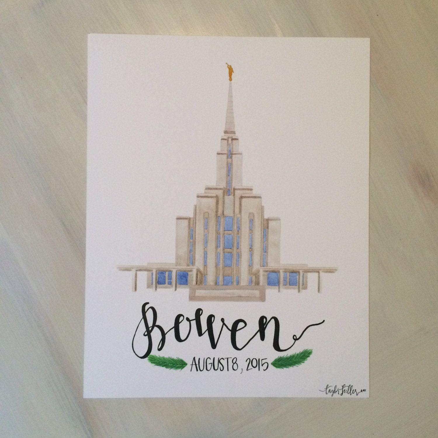 Oquirrh Mountain Utah LDS Temple Watercolor Print || custom || personalized…
