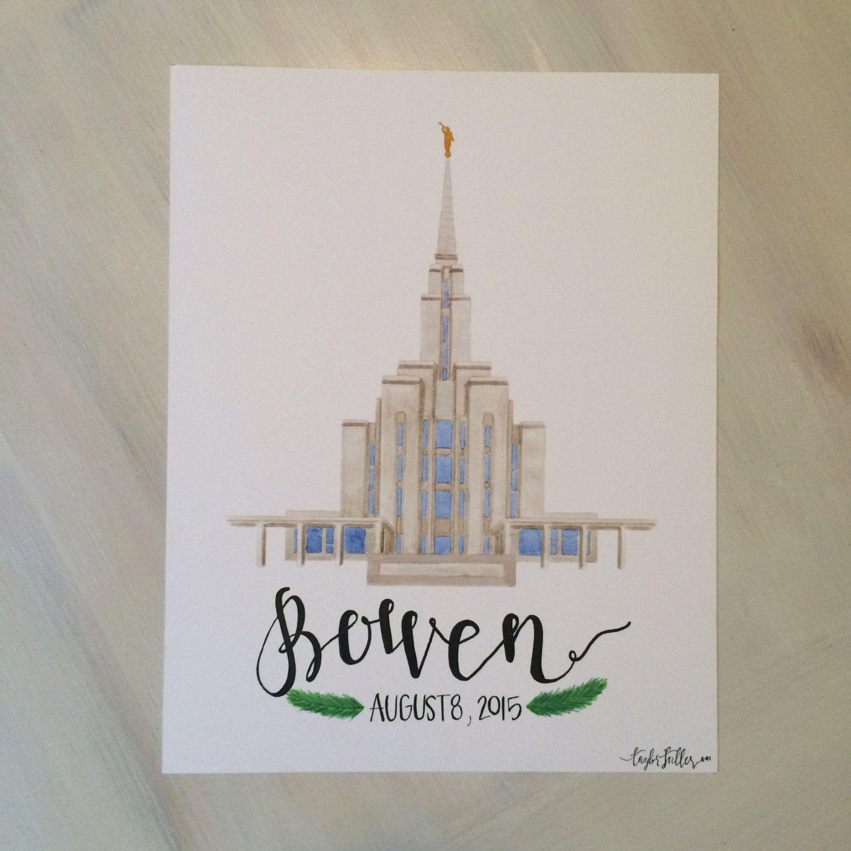 Oquirrh Mountain Utah LDS Temple Watercolor Print || custom || personalized…