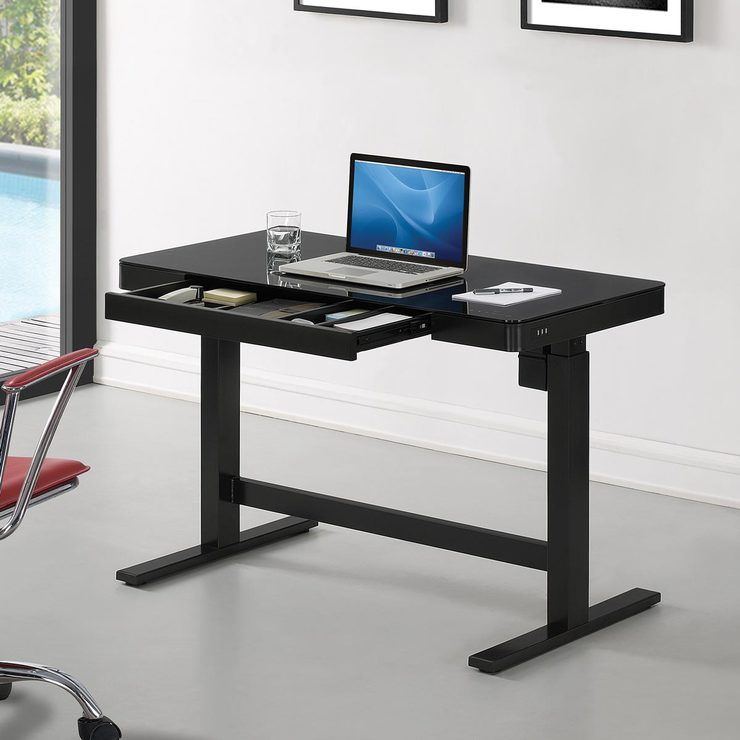 Tresanti Power Adjustable Height Tech Desk Black In 2020