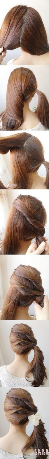 Stylish side ponytail hair style for ladies :- There are seven steps of making stylish side ponytail hair style.... click on picture to read more
