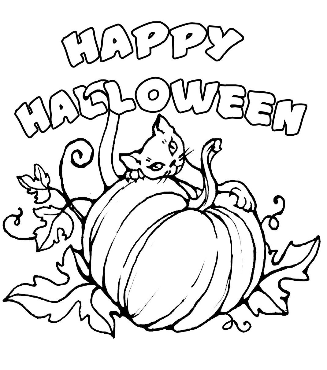 HALLOWEEN COLORING page of a cat with a pumpkin and a Happy ...