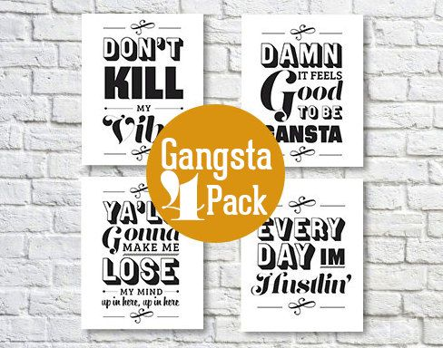Gansta Rap Lyric, 5x7, Collection, Typography Print, Black and White ...