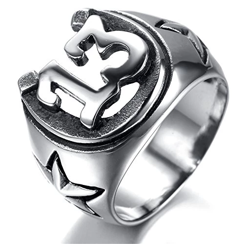 Jewelry Men Stainless Steel Ring, Vintage, Biker, Silver, thirteen