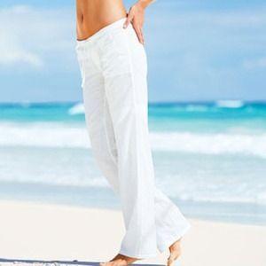 Victoria's Secret Pants - White Linen Pants   Stuff to Buy ...