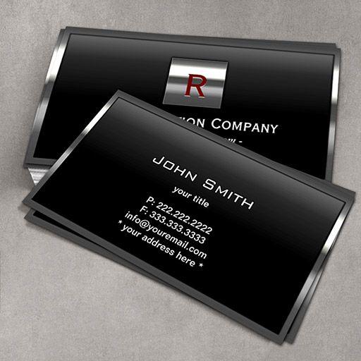 Construction Metal Framed Monogram Professional Business Card Construction Business Cards Business Cards Creative Professional Business Cards