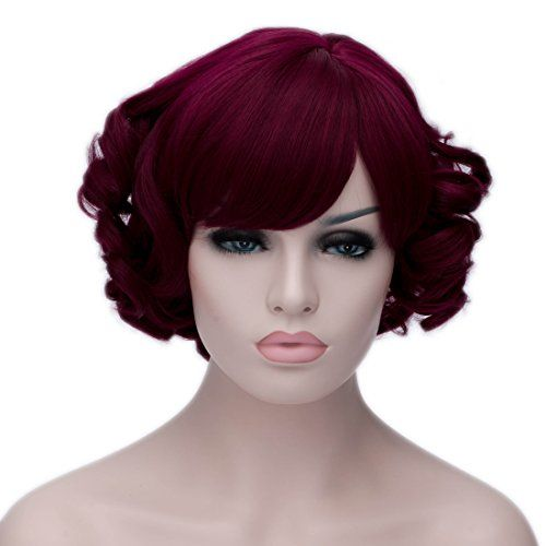 Toptheway Womens Short Curly Wig Wine Red Cosplay Wig   Visit the image  link more details. 2fb40872f