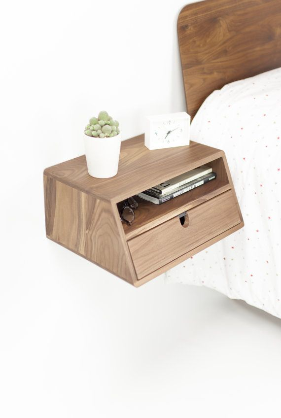 Best Walnut Floating Nightstand Bedside Table Drawer In Solid 640 x 480