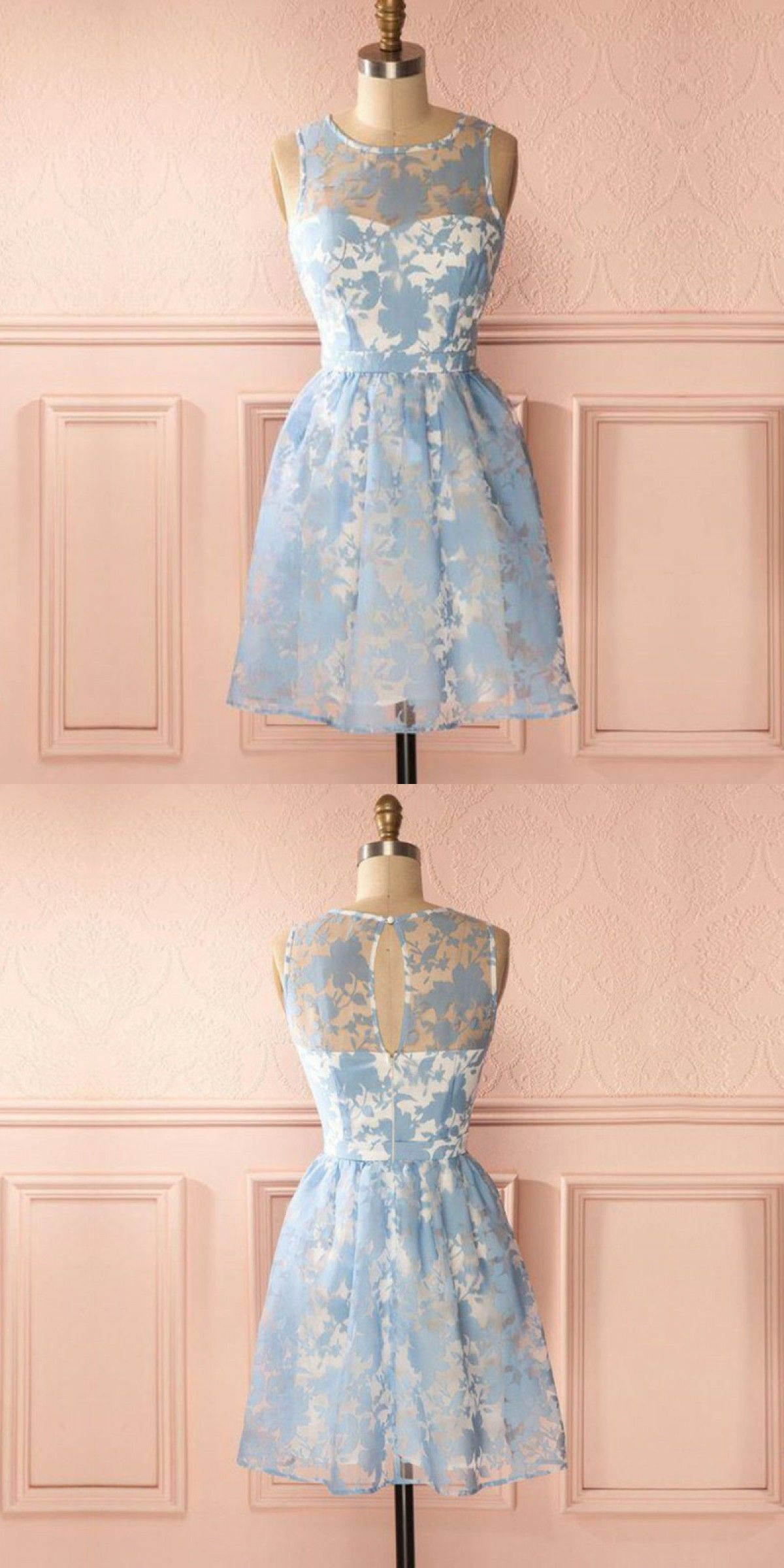 3358306c43b A-Line Round Neck Keyhole Back Blue Homecoming Dress with Lace