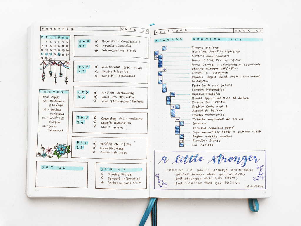 Yu's Daily Log in her Bullet Journal