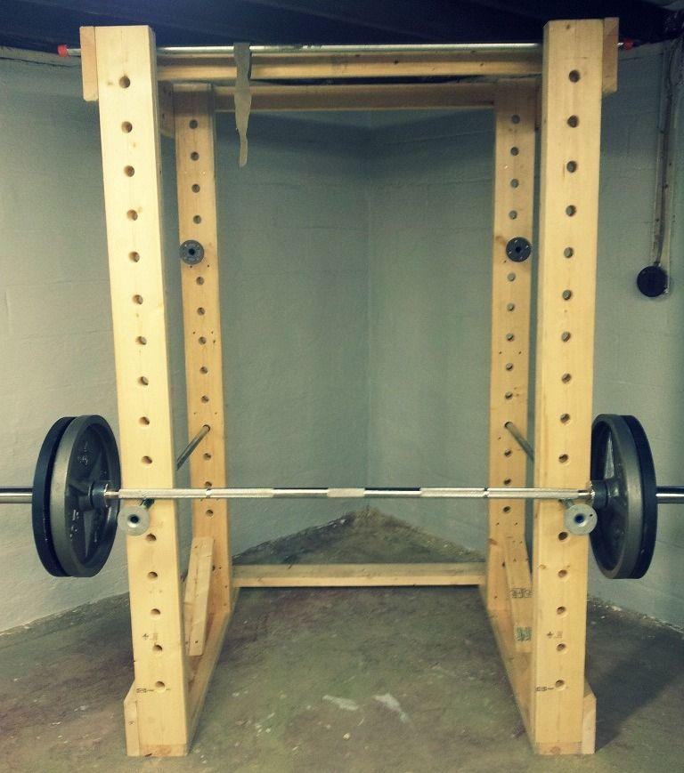 Diy wood power rack wooden power rack power rack diy home gym