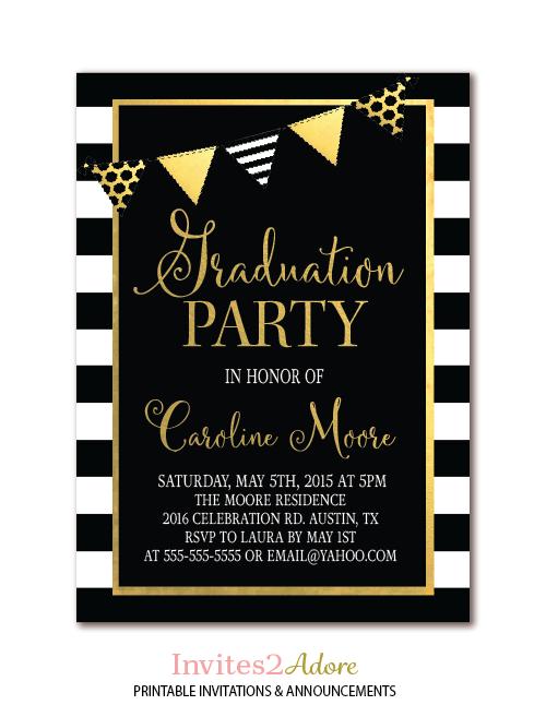 Graduation Party Printable Invitation Black White Stripe
