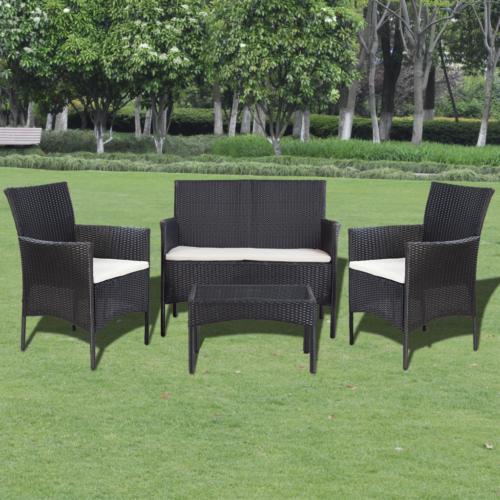 7tlg Lounge Set Poly Rattan Gartenm Bel Sitzgruppe Gartengarnitur Sofa  Schwarz