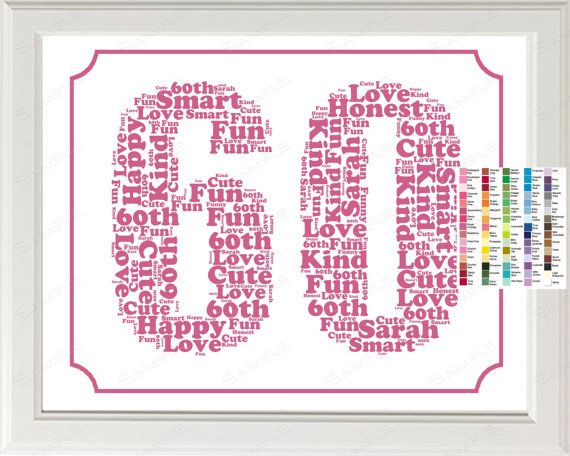 Personalized 60th Birthday Word Art Birthday Print - 60th Birthday ...