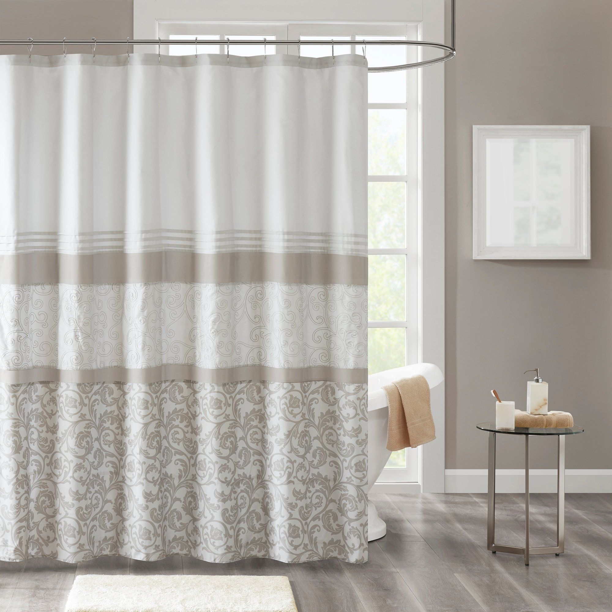 510 Design Lynda Neutral Printed And Embroidered Shower Curtain