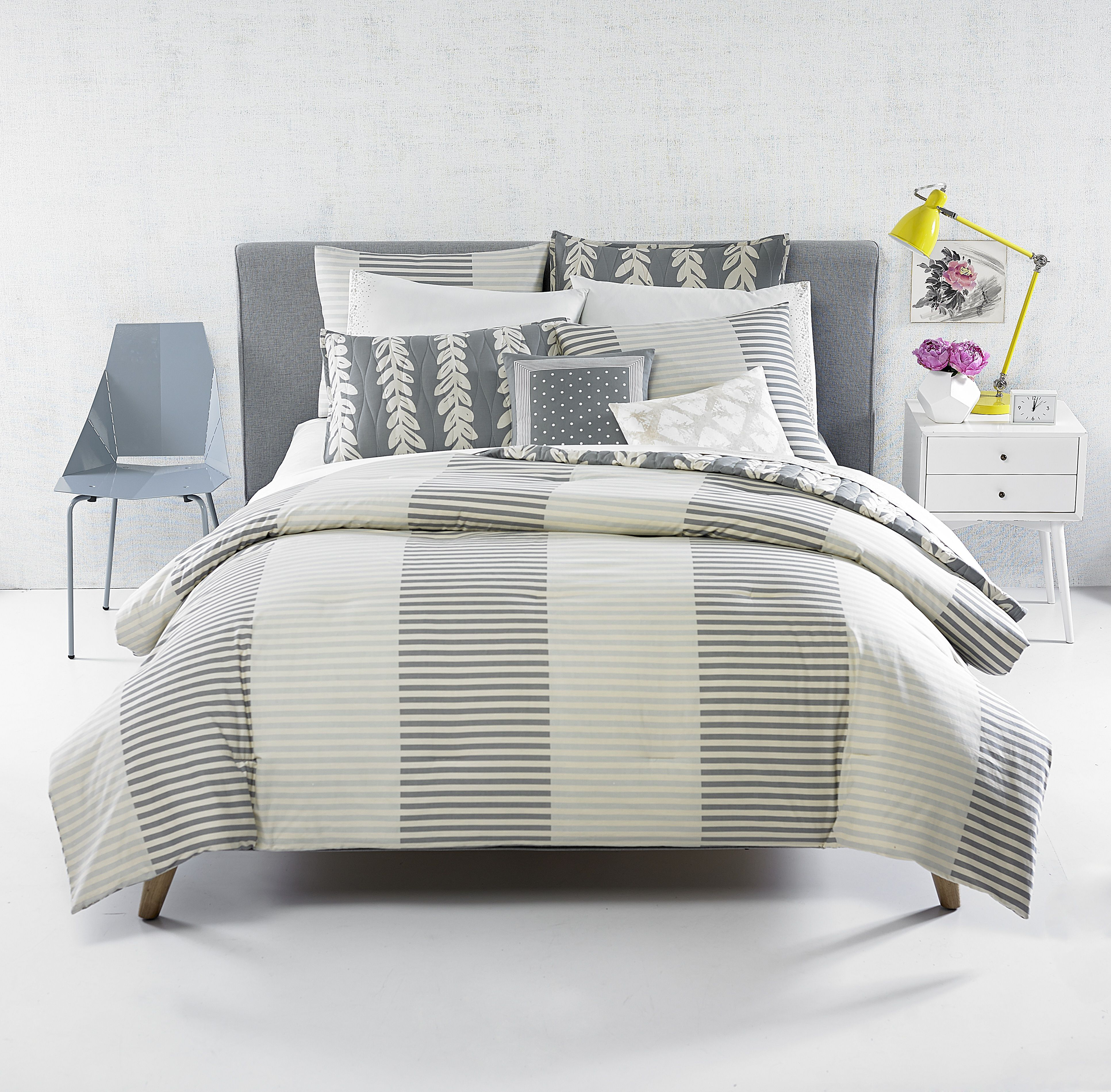 Mulberry stripe queen comforter set