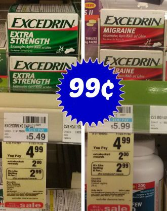 CVS: ONLY $.99 for Excedrin Extra Strength with Sale, Coupon, & Extra Care Bucks!! - http://www.couponaholic.net/2014/11/cvs-only-99-for-excedrin-extra-strength-with-sale-coupon-extra-care-bucks/