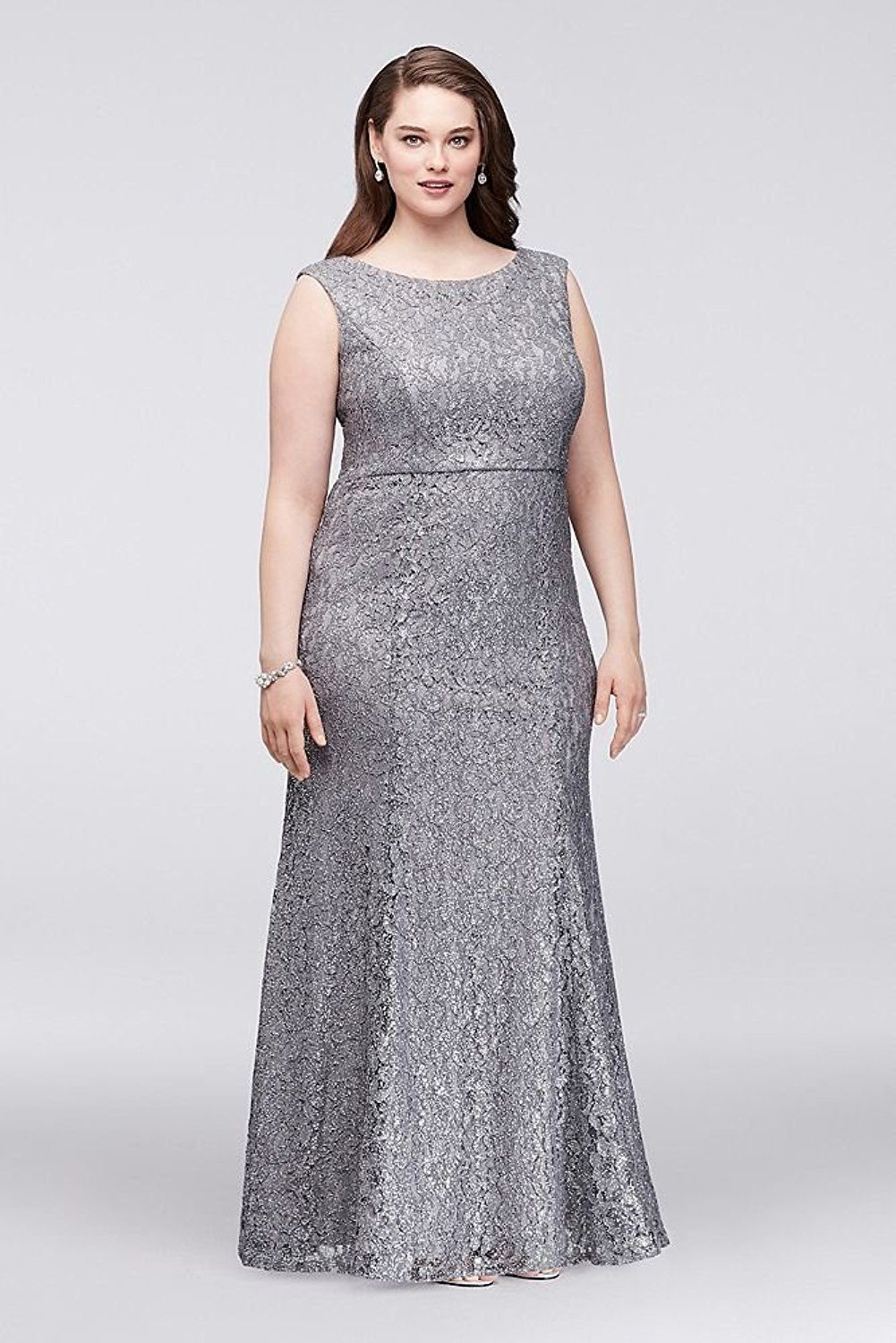 854382314c Plus Size Wedding Guest Dress - Glitter Lace Plus Size Mother of Bride Groom  Gown with Chiffon Capelet Style (sponsored)