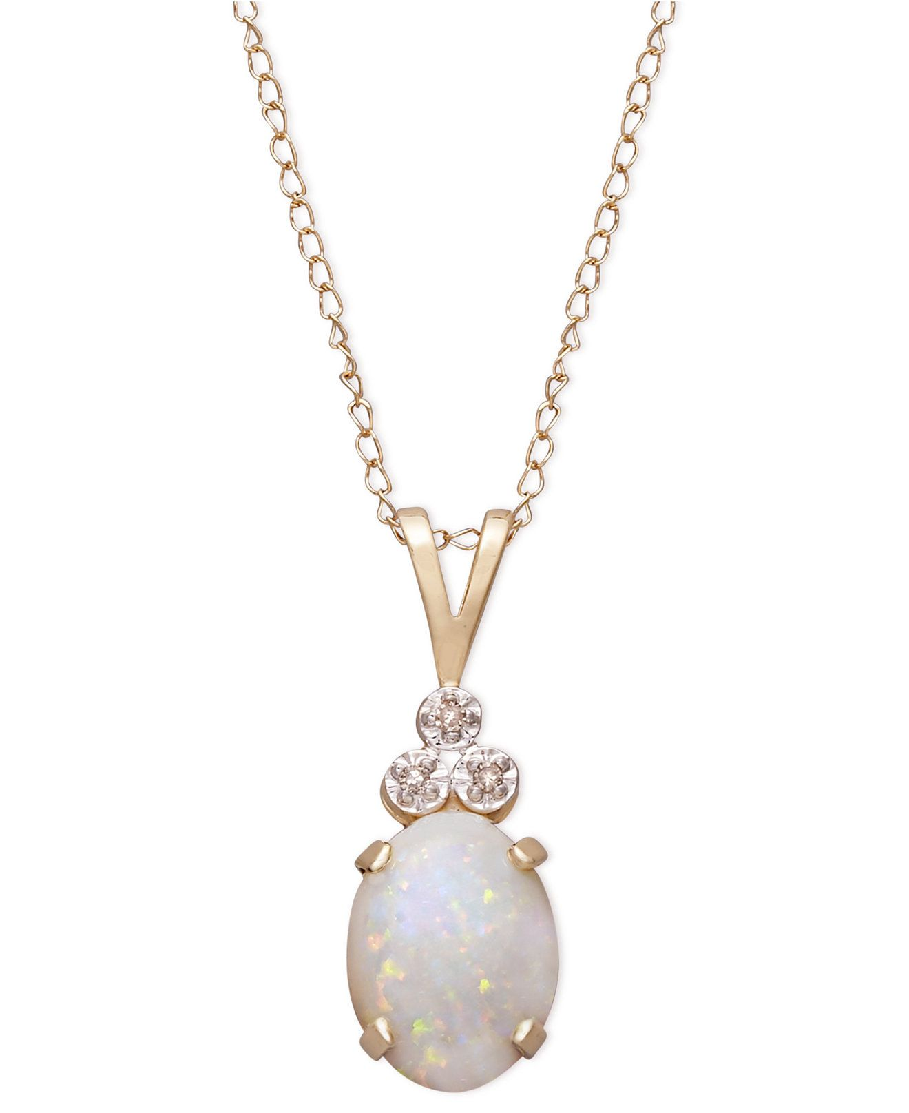 10k Gold Necklace, Opal (9/10 ct. t.w.) and Diamond Accent Tri Top Pendant - Necklaces - Jewelry & Watches - Macy's