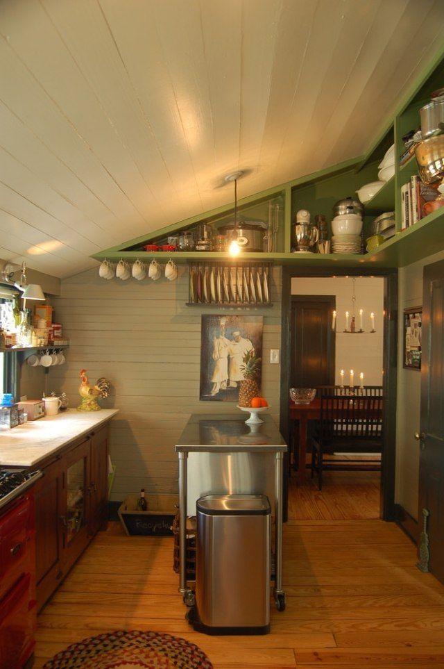 Wohnideen für Dachschrägen-Küche mit schrägem Dach-praktische - k che mit dachschr ge