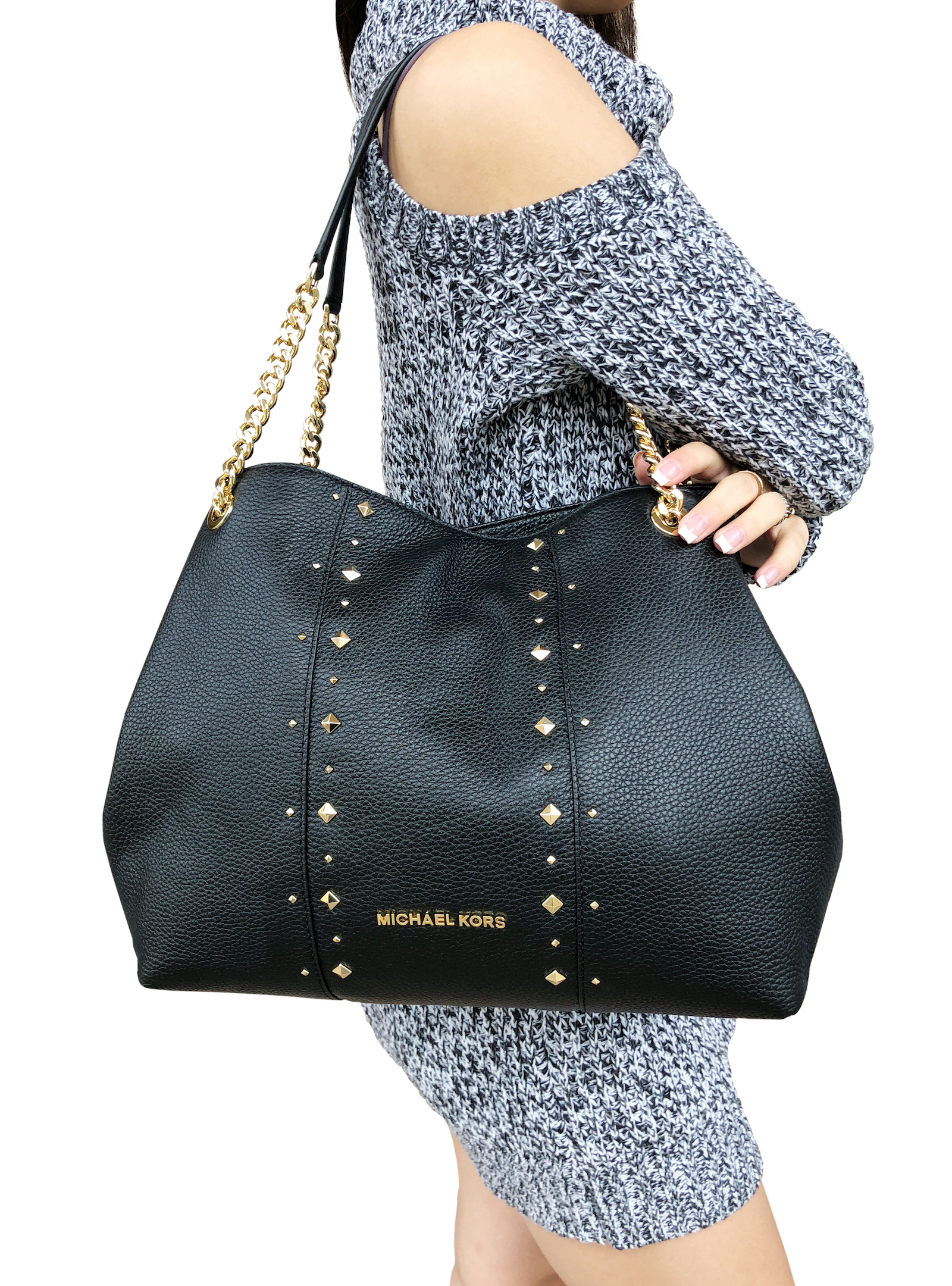ab8d9b5039b8 Michael Kors Jet Set Large Chain Shoulder Bag Hobo Tote Leather Black Stud