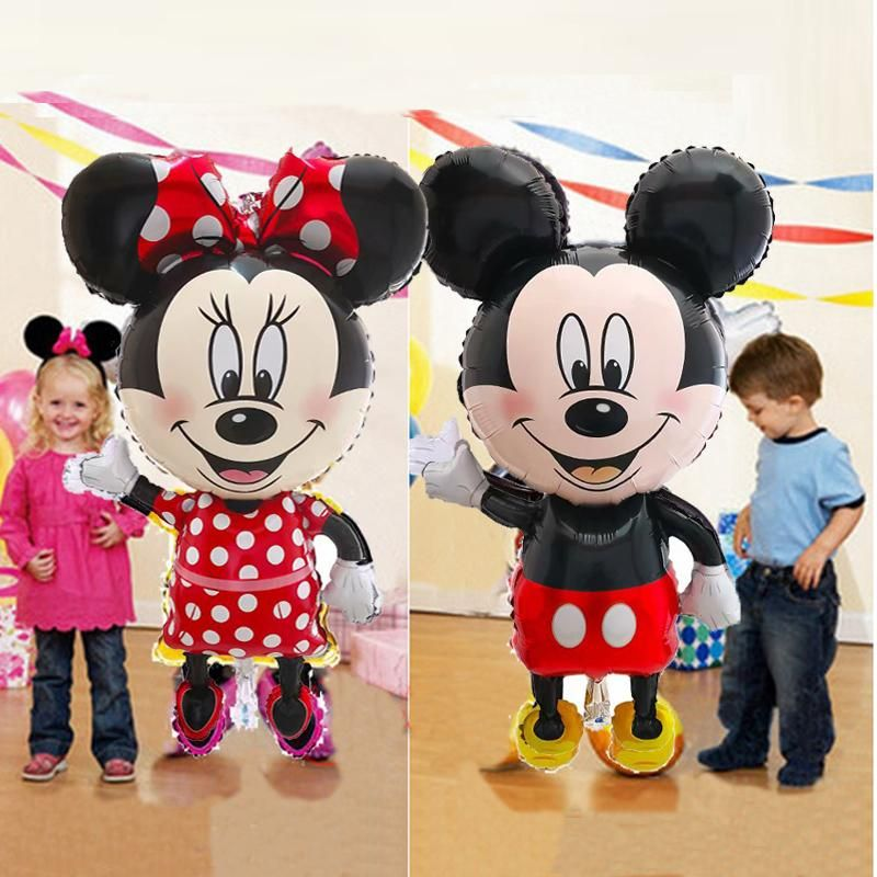 Mickey Minnie Balloons Mouse Air Foil Balloon Happy Birthday Party Decoration Baby Shower Standing Mickey Cartoon Kids Toy     Air Foil Balloon  Birthday Party  Baby   Mickey