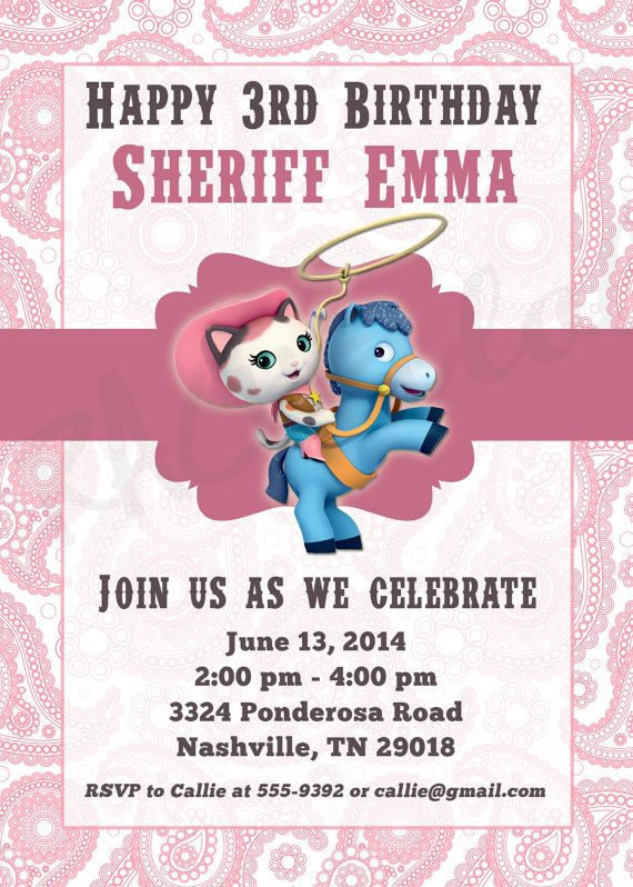 Sheriff Callie Birthday Party Invitation printable by Rachellola