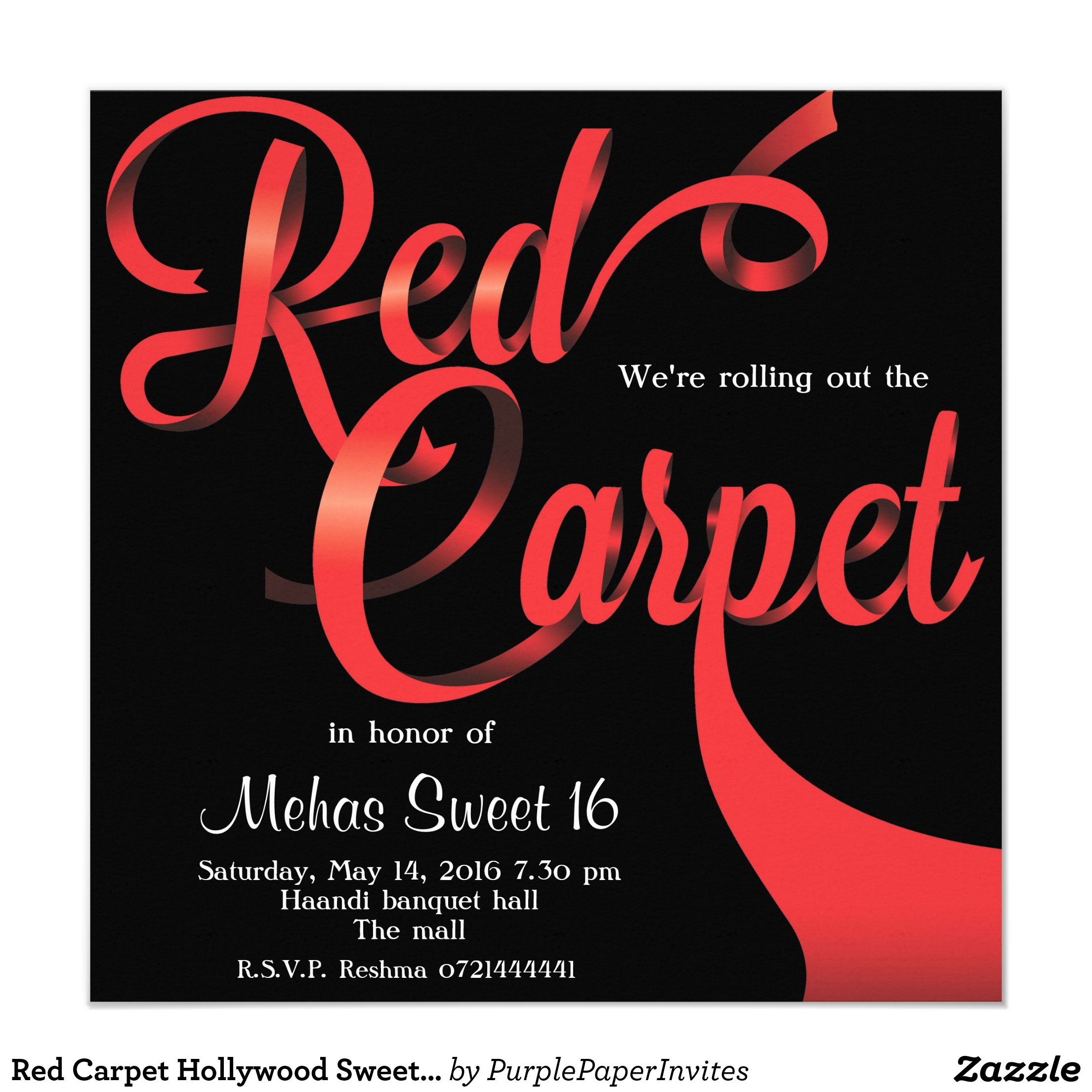 Red Carpet Hollywood Sweet 16 Birthday Invitation | Sweet 16 ...