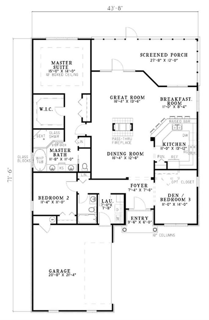 French Country Ranch Plan 3 Bedrms 2 Baths 1806 Sq Ft 153 1536 Floor Plans Floor Plan Layout House Plans