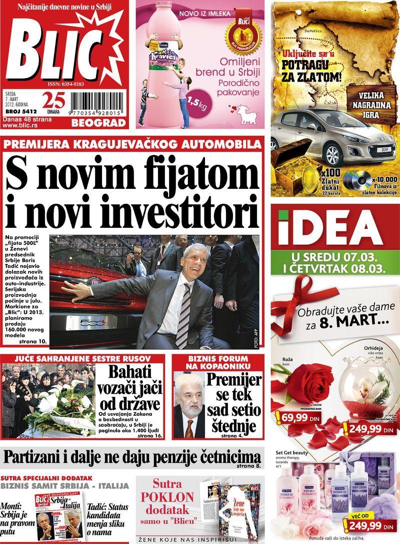 "Naslovna strana ""Blica"" za 7. mart 2012. Baseball cards"