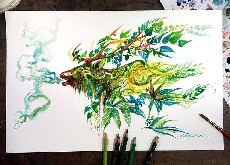 Parrot Art Blue And Yellow Watercolor Splash Design Dessin Perroquet