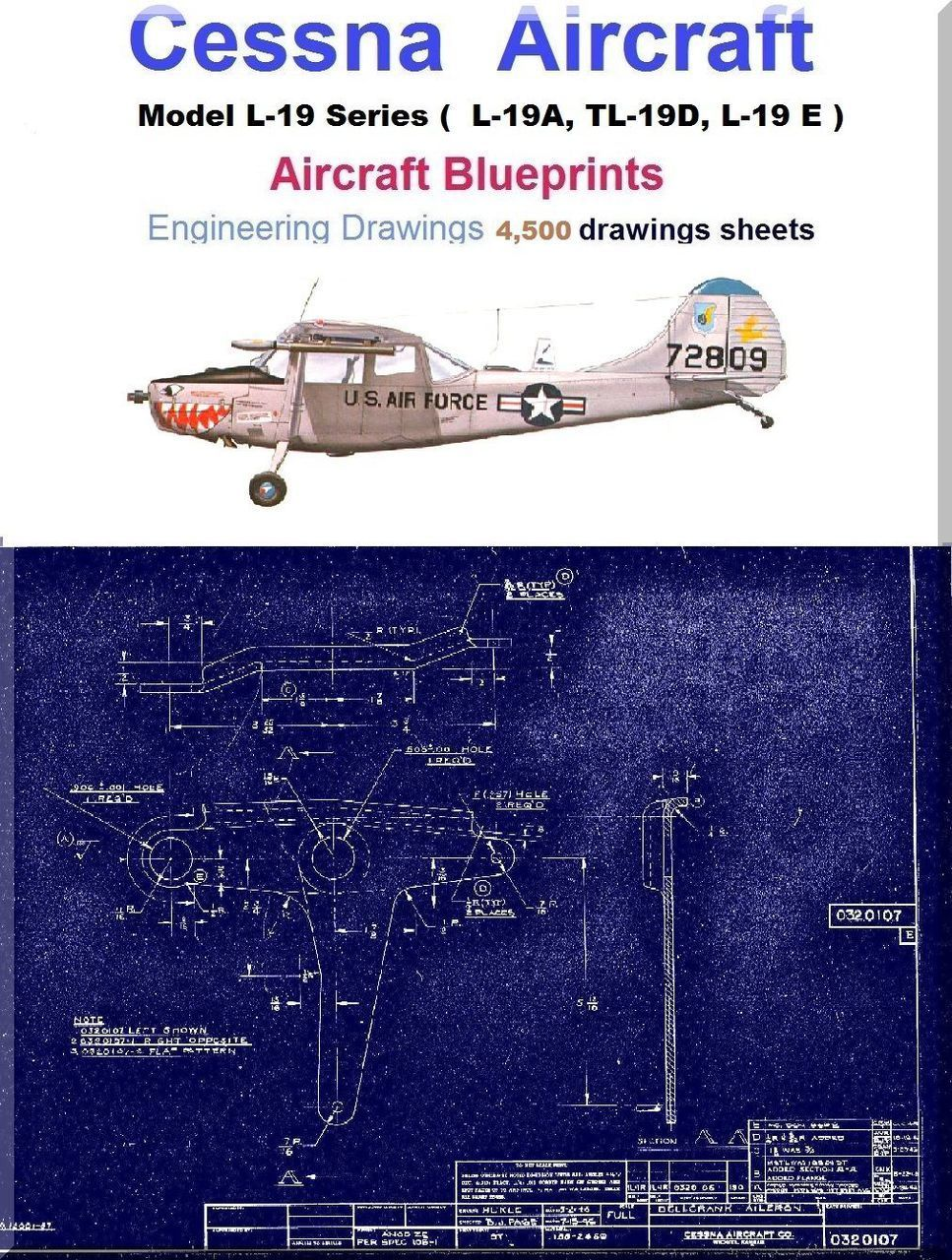 Cessna L19 Series Aircraft Blueprints Engineering Drawings DVDs
