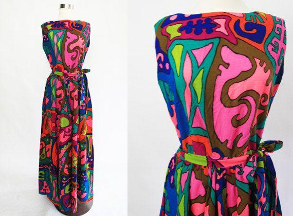 1970s abstract tribal palazzo jumpsuit/ 70s by GidgetteBardot