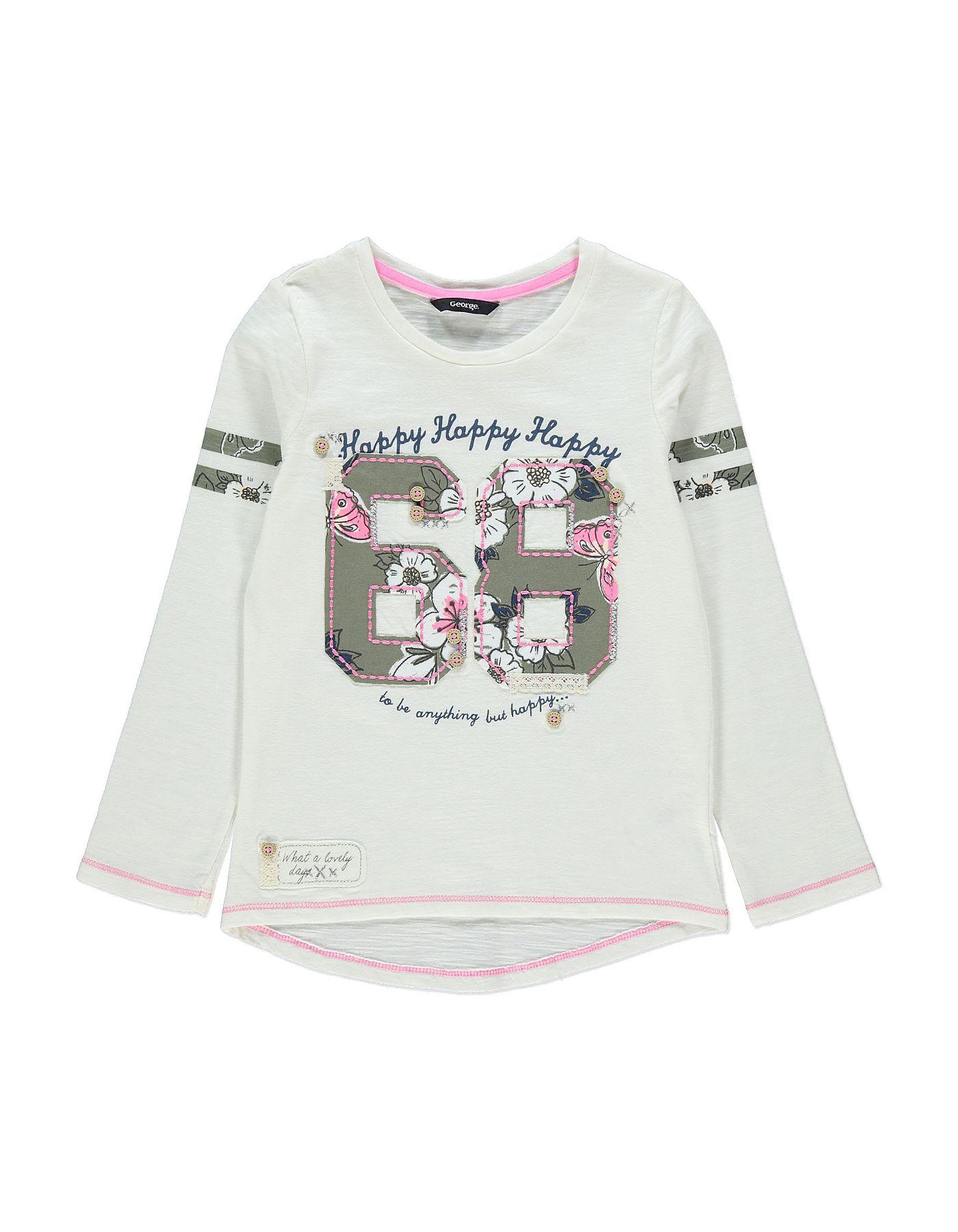 Black t shirt asda - Floral 68 Top Girls George At Asda