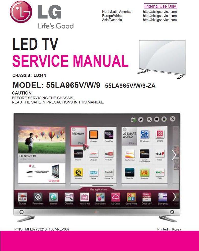 Lg 55la9659 55la965v 55la965w Led Tv Service Manual Schematics Led Tv Tv Services Repair Guide