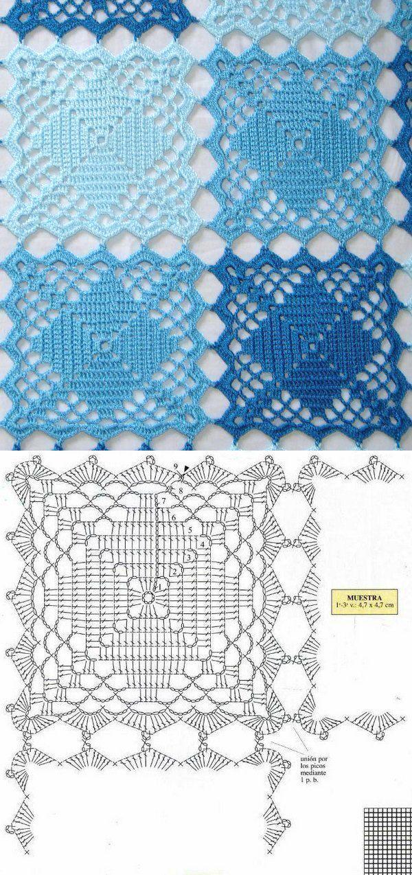 Crochet square pattern | Crochê colcha | Pinterest | Omas ...