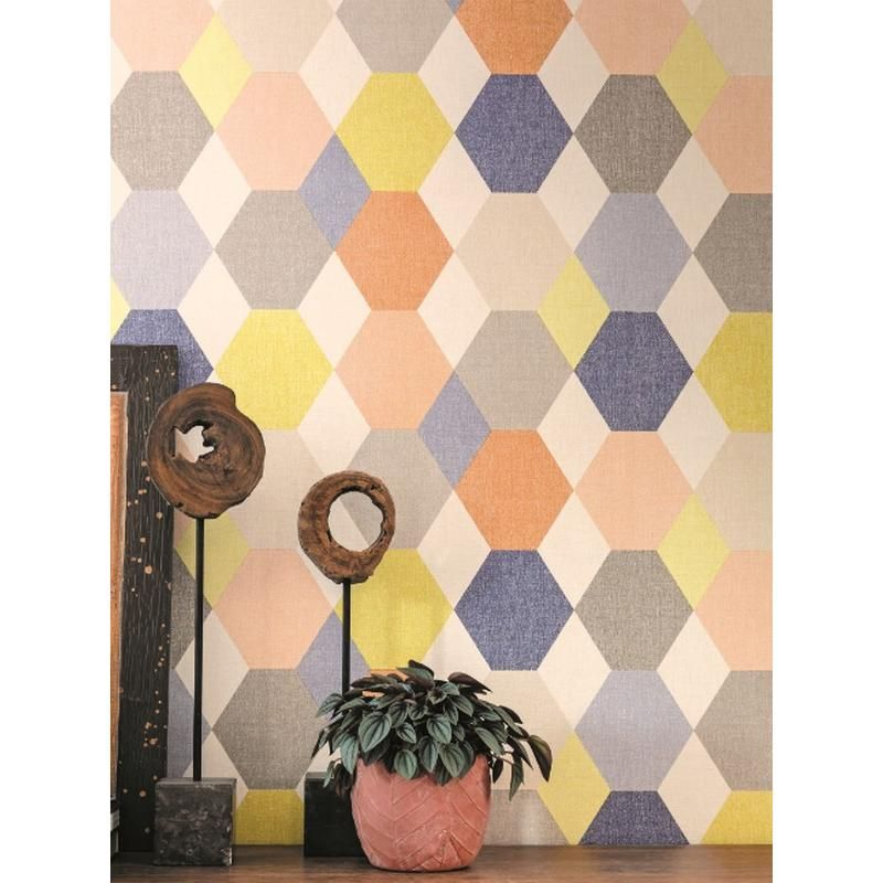 papier peint vinyle sur intiss motif graphique avec des couleurs pop dans les tons orange. Black Bedroom Furniture Sets. Home Design Ideas