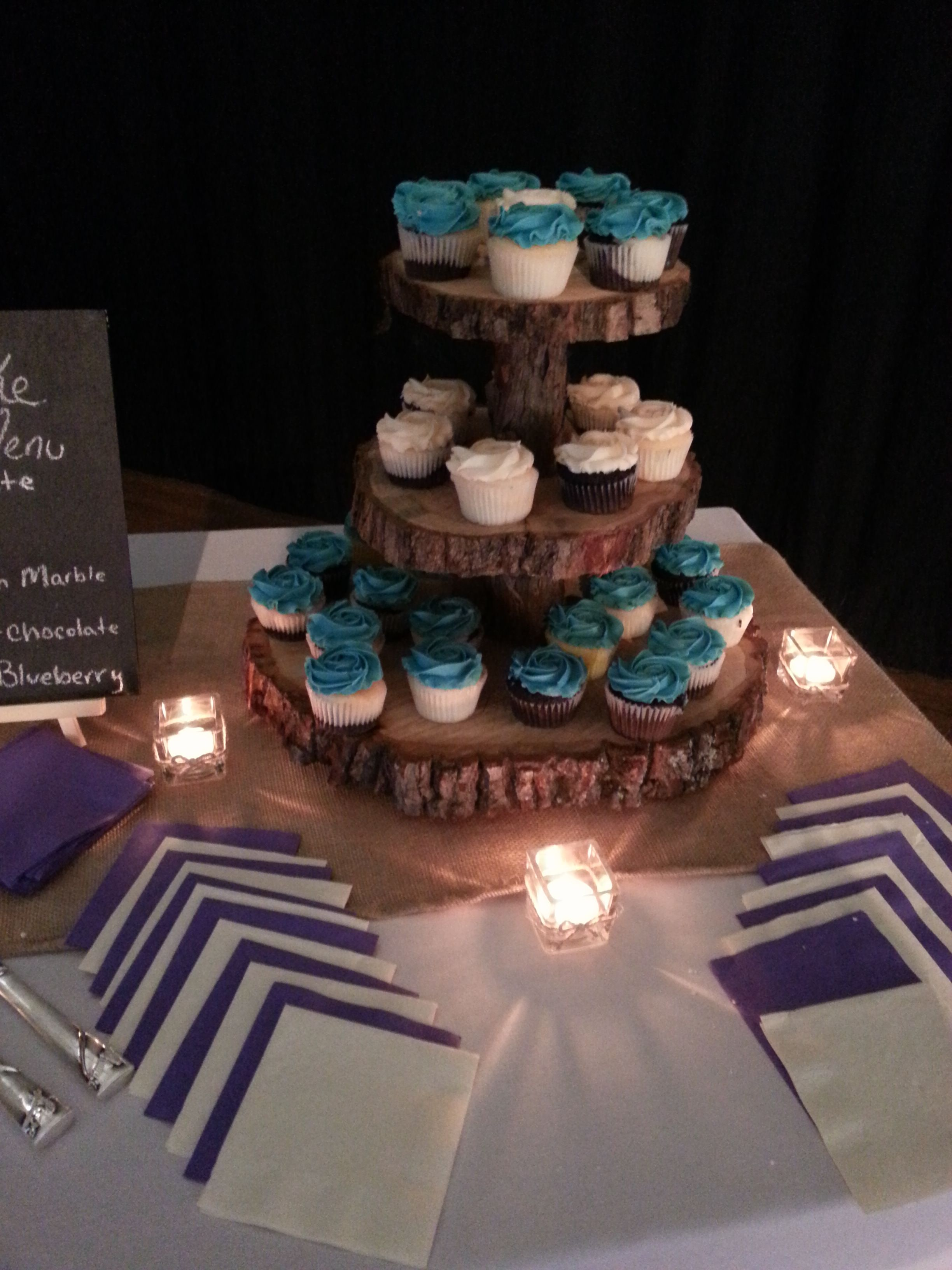 3 tiered rustic cake and cupcake stand available for rent for your