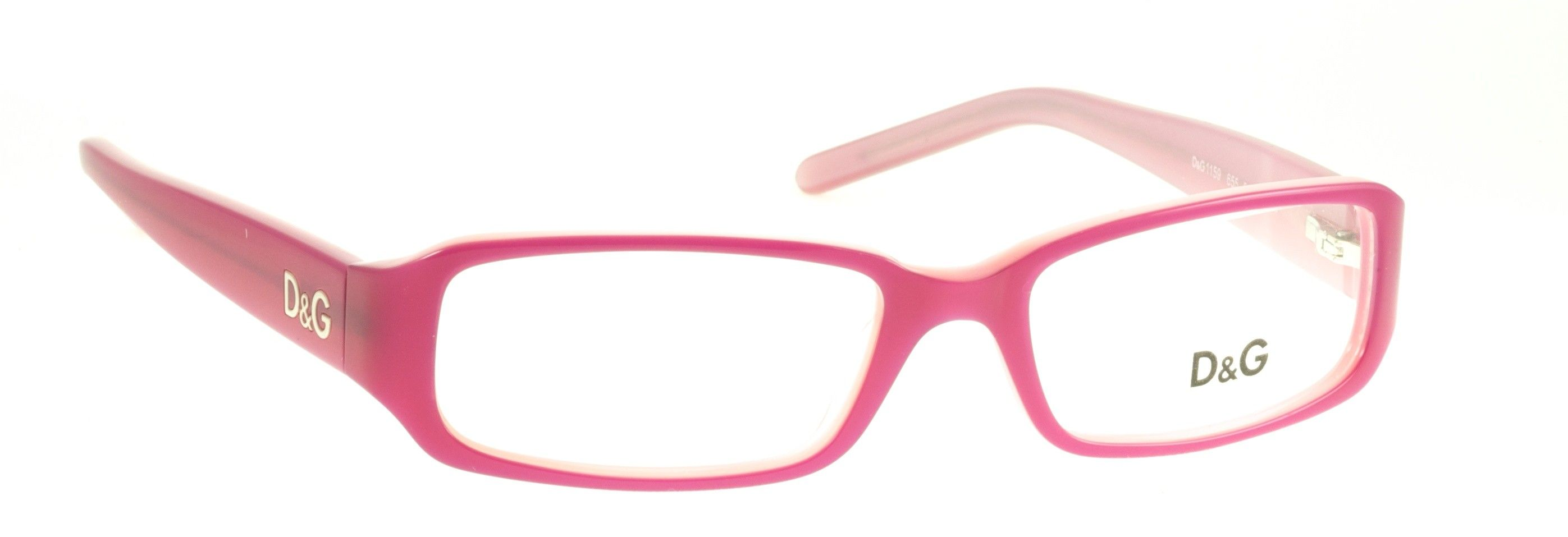 dg glasses model 1159 655 a pair of pink coloured rectangle dg designer glasses with
