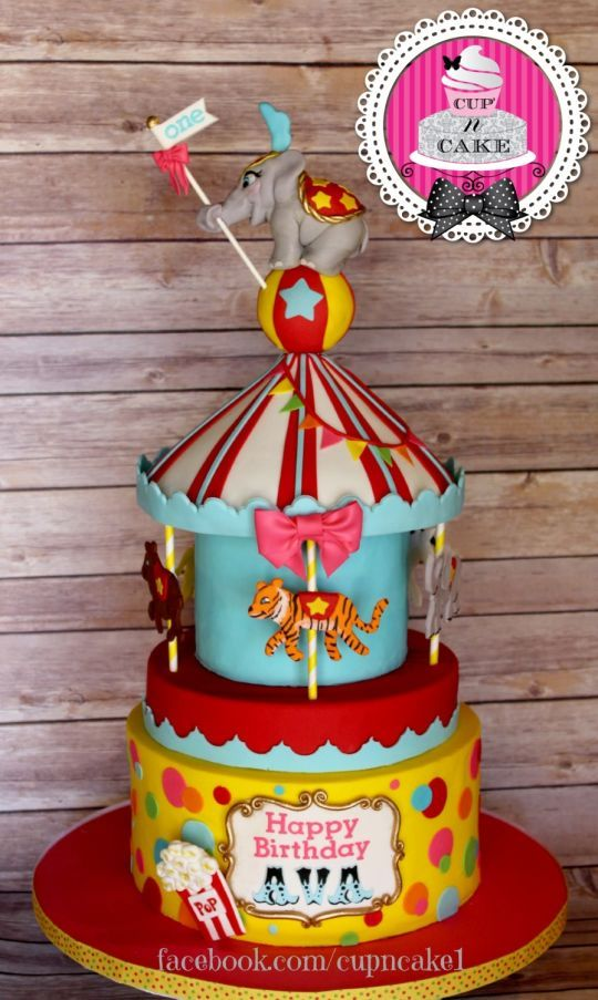 First Birthday Circus Cake With Images Circus Birthday Cake