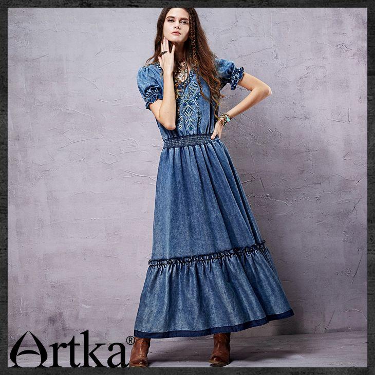 30e01f3d36 Aliexpress.com  Compre Das artka mulheres retro étnica longo vestidos de  boa qualidade bordado decorar lanterna manga moda mulher denim dress  ln14059x de ...