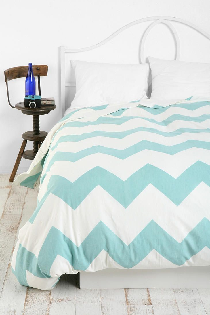 Zigzag Duvet Cover, Queen. I would go for black, then light blue, then light grey. I hear the fabric is a bit stiff and rough though. $79.99 - $99.99 #UrbanOutfitters