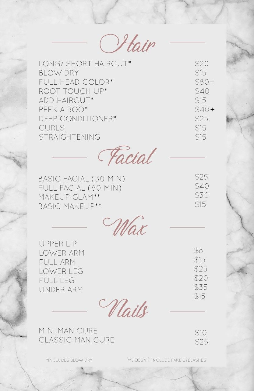 Salon Service Menu katherinedoeshair Hair salon